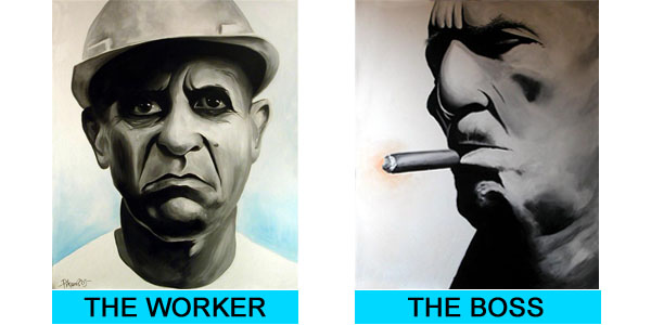 - Kunstenaar: Bartosch Pikon (D) - Titel: 'the worker' (2003) en 'the boss' (2003) - Medium: acrylverf op canvas (unica) - Afmetingen beide werken: 100cm x 80cm - Collectie: Splinter
